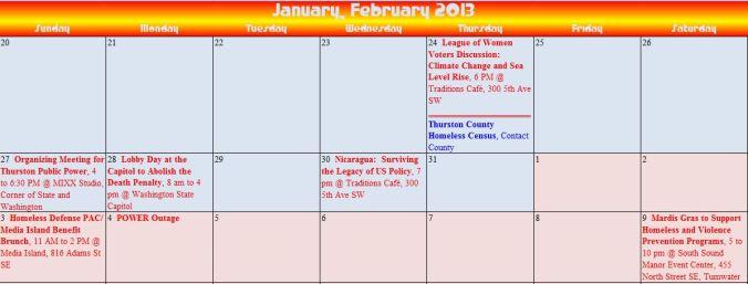 Action Alert Calendar